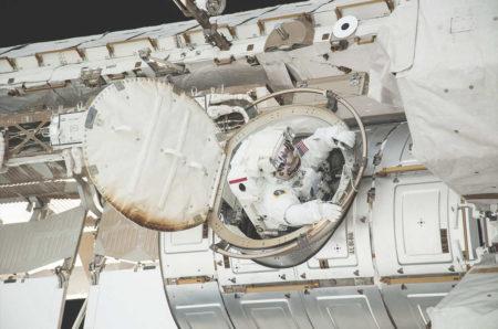 ESA astronaut Luca Parmitano emerges from the Quest airlock to begin his turbulent second EVA
