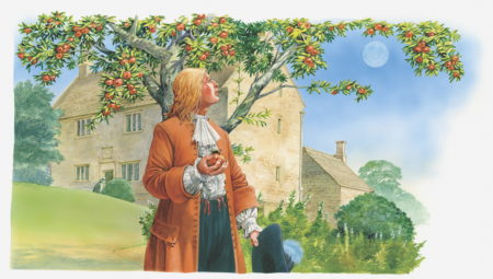 Illustration of Sir Isaac Newton holding apple in hand and looking up at tree