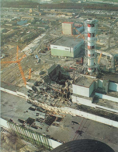 The destroyed Chernobyl nuclear powerplant