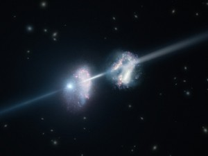 ArtistÕs impression of a gamma-ray burst shining through two young galaxies in the early Universe